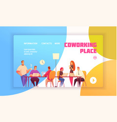 Coworking place landing page vector