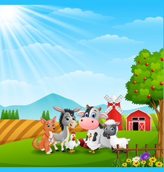 Cute animals at farm background vector
