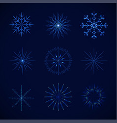 decorative crystal snowflakes set vector image