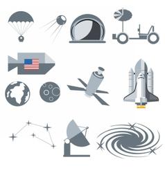 Digital silver cosmos icons set vector image