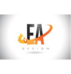 Ea e a letter logo with fire flames design vector