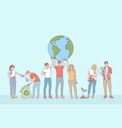 ecological conversation save planet concept vector image