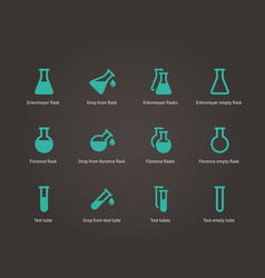 Erlenmeyer and florence flasks icons set vector