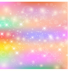 fairy baby girl background with rainbow mesh vector image