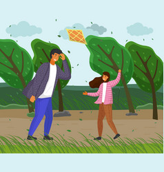 father and daughter in park playing with a vector image