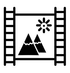 film strip with mountains solid icon film strip vector image