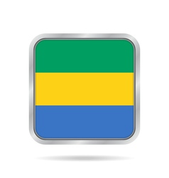 Flag of Gabon Shiny metallic gray square button vector image