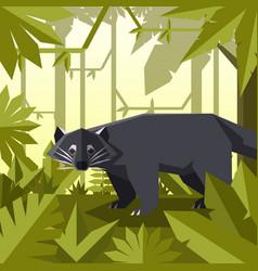 Flat geometric jungle background with binturong vector