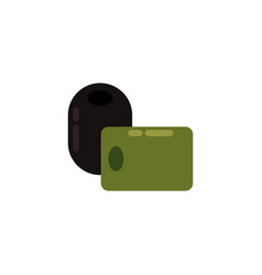 flat green black olive icon vector image