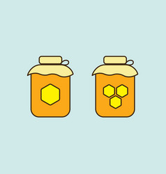 flat honey jar icons on blue background vector image