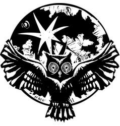 Flying owl moon vector