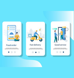 food delivery mobile app onboarding screens vector image