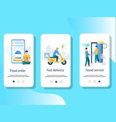 Food delivery mobile app onboarding screens vector