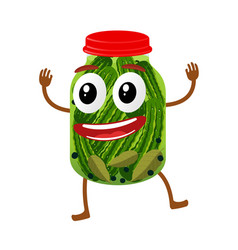 Funny pickles glass jar character vector