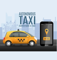 future taxi conceptual background vector image