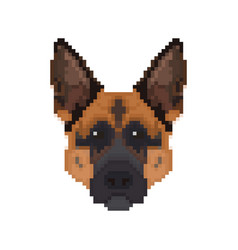 German shepherd head in pixel art style dog vector