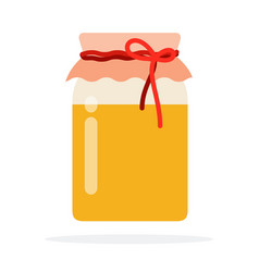 glass honey jar with a lid made cloth and rope vector image