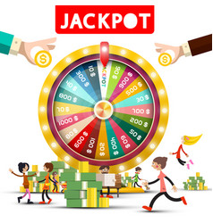 gold fortune wheel with jackpot title and happy vector image