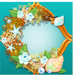 golden frame with an ornament made from sea shells vector image