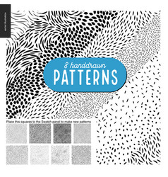 Hand drawn black and white 8 patterns set vector