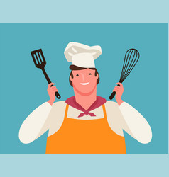 Happy chef with kitchen tools in his hands vector