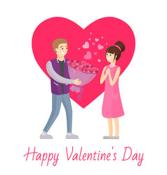 Happy valentines day poster man presenting bouquet vector