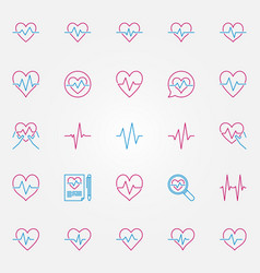 Heartbeat colorful outline icons cardiac vector