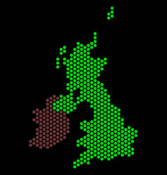 honeycomb great britain and ireland map vector image