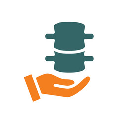 Human spine on hand colored icon care rescue vector
