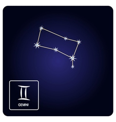 Icons with Gemini zodiac sign and constellation vector