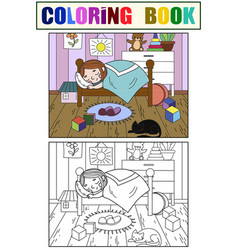 Kids on the theme of childhood room coloring and vector