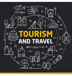 Lines icons circle tourism and travel vector