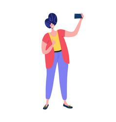 man taking social media selfie holding camera vector image
