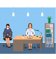 medicine interior with sitting patient and doctor vector image