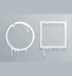 melting cut paper frame 3d flowing art flux circle vector image