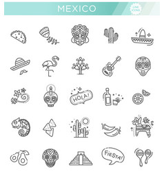 mexican culture icons set day of the dead vector image
