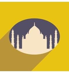 Modern flat icon with long shadow Indian Taj Mahal vector