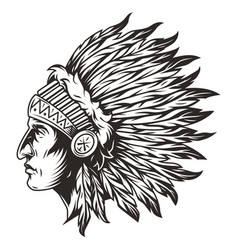 native american indian chief head vector image