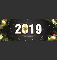 new year 2019 banner with gold holiday ornaments vector image
