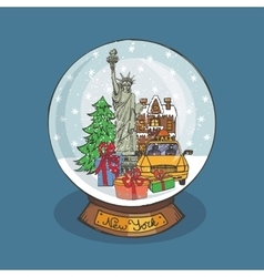 New york Christmas Snow globeDoodle city vector image