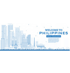 Outline welcome to philippines city skyline vector