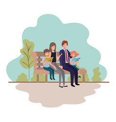 parents couple with children sitting in park chair vector image