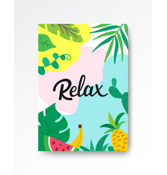 relax tropical poster a4 hand drawn lettering vector image