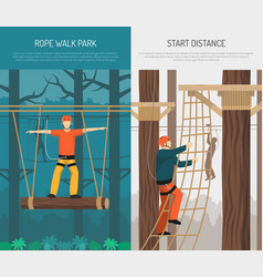 Rope walking flat vertical banners vector