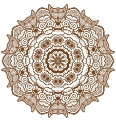 Round brown mandala vector
