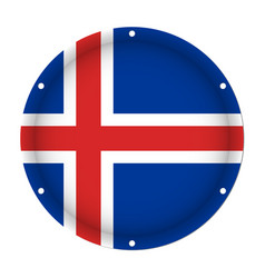 Round metallic flag of iceland with screw holes vector