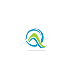 Round wave abstract eco logo vector