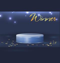 round winner podium on bright blue background vector image