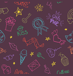Seamless pattern with hand drawn girly doodles vector