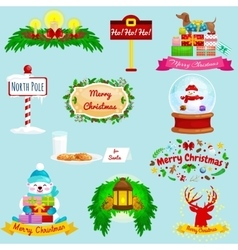 Set of greeting cards Merry Christmas and a Happy vector